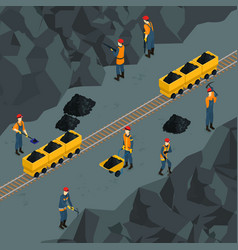 Coal industry isometric template vector