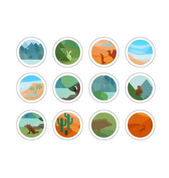 Animals and nature stickers set vector