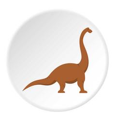 Brown brachiosaurus dinosaur icon circle vector