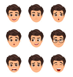 Male emotions set facial expression cartoon vector