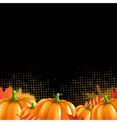 Orange autumn leafs and pumpkins frame vector