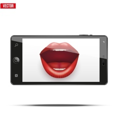 Smartphone with womens lips on the screen vector