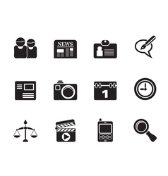 Silhouette computer and business icons vector image