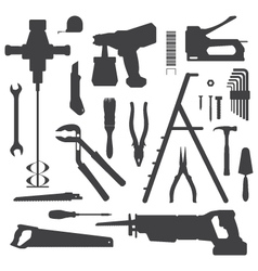 House remodel instruments silhouette set vector