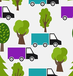 Seamless pattern with truck and tree background in vector