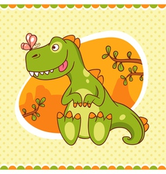 Dino and butterfly vector