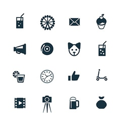 Birthday icons set vector