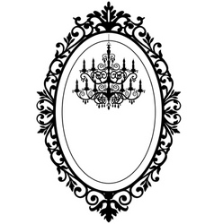 Vintage frame with chandelier vector