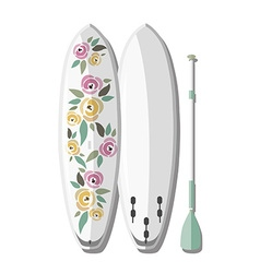 stand up paddle board and paddle with col vector image