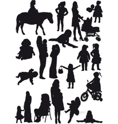 Silhouettes of mother and daughter vector