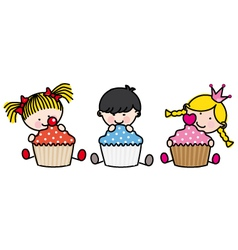 children with cakes vector image