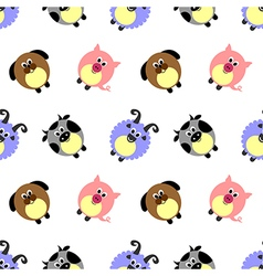 Comic pigs sheeps dogs and cows pattern vector