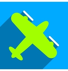 Screw aeroplane flat square icon with long shadow vector