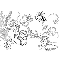 Happy insects for coloring book vector