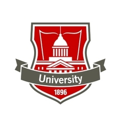 Education heraldic badge with university building vector