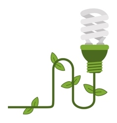 Energy saving lightbulb with ivy icon vector