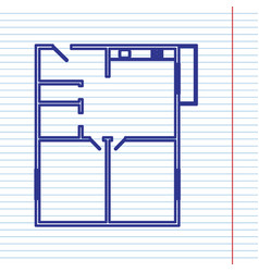 Apartment house floor plans navy line vector