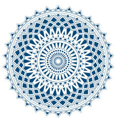 Blue mandala from simple shapes isolated vector