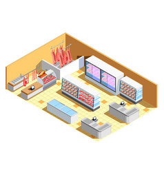 butcher shop interior isometric composition vector image