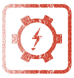Electric energy gear wheel framed textured icon vector