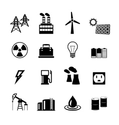 Energy power pictograms collection vector image