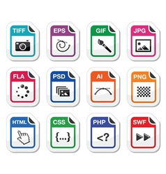 File type black icons as labels - graphics coding vector image