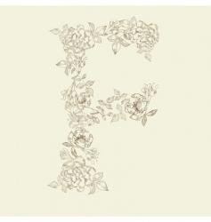 floral font letter f vector image vector image