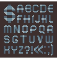 Font from bluish scotch tape - Roman alphabet vector image