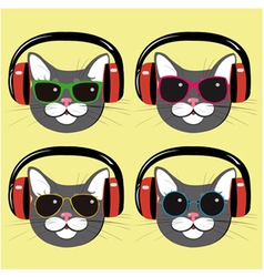 Funny cats in music headphones and sunglasses vector