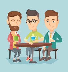 group of men drinking hot and alcoholic drinks vector image vector image