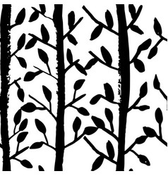 Grunge tree leaves seamless pattern black and vector
