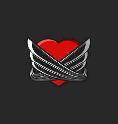 Heart with wings logo tattoo mockup on black vector