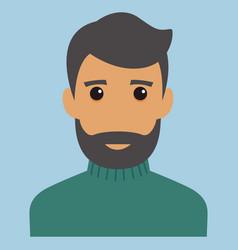man portrait beard modern avatar flat design vector image