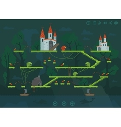 Mobile platform game level interface design vector image