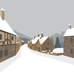 Mountain village winter houses vector