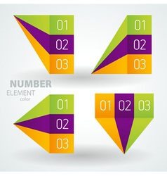 number list perspective arrow cursor element set vector image vector image