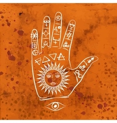 Open hand with sun tattoo vector