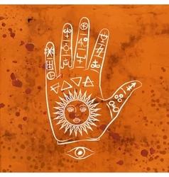 Open hand with sun tattoo vector
