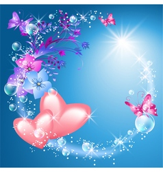 Pink hearts with flowers vector