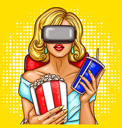 Pop art woman watching movie with virtual vector