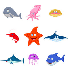 Sea animal cartoon set vector