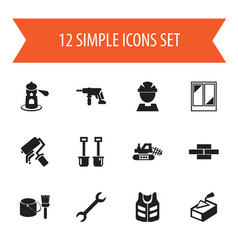 Set of 12 editable construction icons includes vector