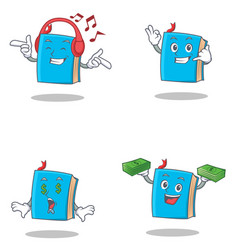 Set of blue book character with listening music vector