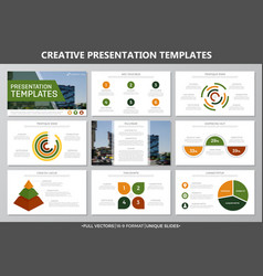 Set of yellow and green elements for multipurpose vector