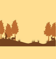 Silhouette of rabbit on fields landscape vector