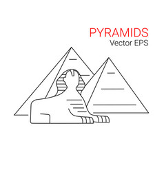 Sphinx and pyramid egypt line icon vector