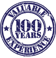 Valuable 100 years of experience rubber stamp vector image