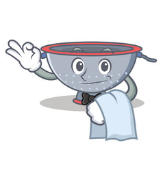 Waiter colander utensil character cartoon vector