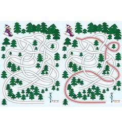winter maze vector image vector image
