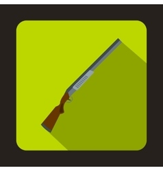 Hunting rifle shotgun icon flat style vector image